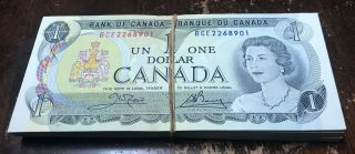 1973 Bank Of Canada Brick Of 100 Consecutive Unc Notes Cp772