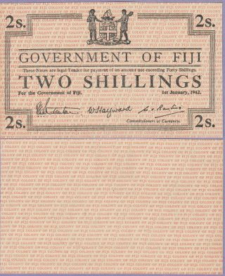 Fiji Islands 2 Shillings Banknote 1.  1.  1942 Uncirculated Cat50 - R1