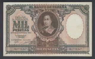 Spain 1000 Pesetas 09 - 01 - 1940 Vf P.  120,  Banknote,  Circulated