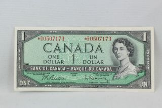 1954 Canada Replacement $1 Bank Note Beattie Raminsky Signatures Do Prefix