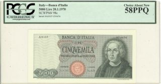 Italy 5000 Lire Currency Banknote 1970 Pcgs 58 Ppq Au
