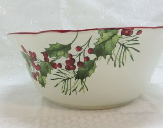 Better Homes Gardens Christmas Heritage Holly & Berry 11 Inch Serving Bowl