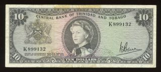 1964 Trinidad And Tobago $10 Banknote P - 28c