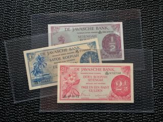 Netherlands Indies 1948 1/2 1 2 1/2 Gulden Federal Complete Set P97 P98 P99