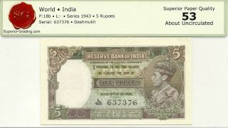 India Reserve Bank 5 Rupees 1943 Issue P - 18b King George Vi About Unc