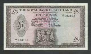 F45 Royal Bank Of Scotland 10 Pounds 1969,  P331,  Xf W/ Relatively Low Serial