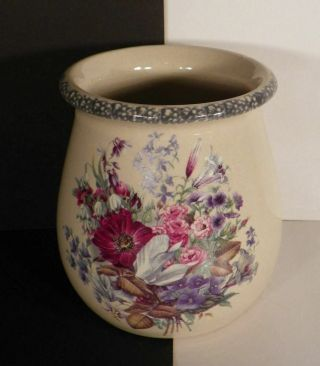 Home And Garden Party Floral Utensil Holder Crock Stoneware 2000