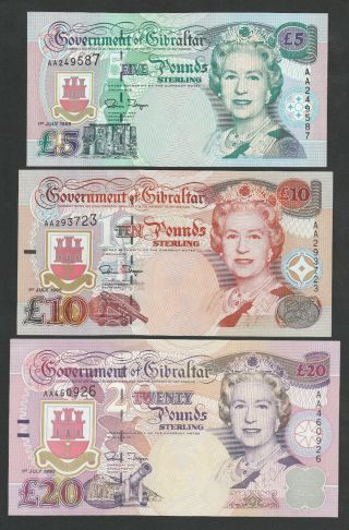 E8 Gibraltar 1995 Issues,  P25 - 27 Unc W/ A Soft Bend On The Upper Corner Of The 20