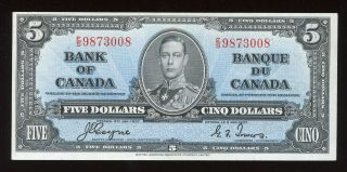 1937 Bank Of Canada $5 Banknote Cat Bc - 23c - Ef - S/n: E/s9873008