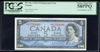 1954 Bank Of Canada $5 Replacement Note - R/x - Pcgs Choice Au58ppq