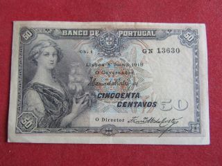 Portugal Banknote 50 Centavos 5 - 07 - 1918 Pick 112a One Line Extremely Fine