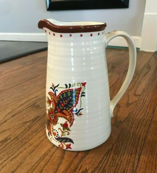 Tabletops Gallery Painted Hand Crafted Lizette Floral Paisley Handled Pitcher