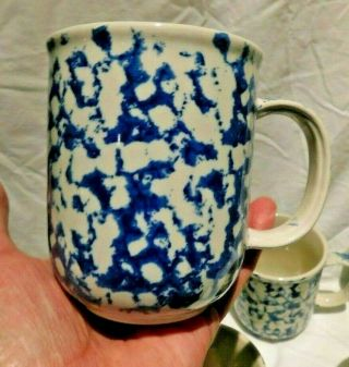 Set Of 5 Mugs By Tienshan Folk Craft Blue Sponge Coffee Tea Cocoa Cups