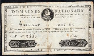 100 Livres Assignat From France 1791