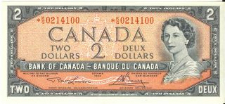 Bank Of Canada 1954 $2 Two Dollars Replacement Note K/g Prefix Choice Unc