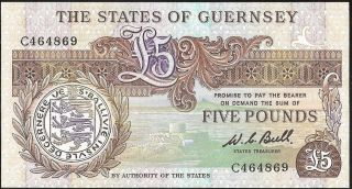 The States Of Guernsey 5 Pounds (1980 - 1989) P:49a Unc