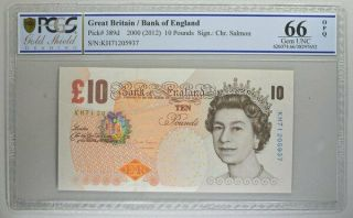 Bank Of England Great Britain 10 Pounds 2000 Pcgs 66opq