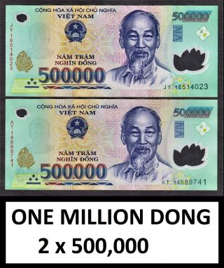 Vietnam Polymer 1,  000,  000 One Million Dong (2 X 500,  000) Circulated