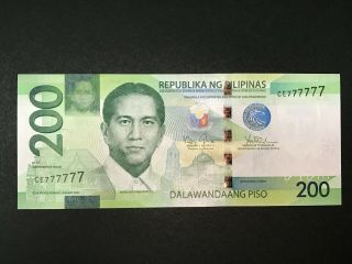 Philippines 200 Pesos Ngc 2015 Solid 7 (ce777777) - Seldom Seen Solid Banknote