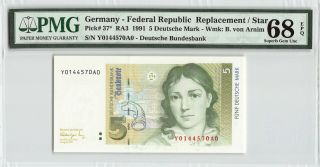 Germany - Federal Rep.  1991 P - 37 Pmg Gem Unc 68 Epq 5 Mark Replacement