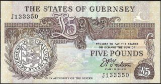 The States Of Guernsey 5 Pounds (1990 - 1995) P:53b Unc