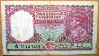 Reserve Bank Of India Burma George Vi 5 Rupees Very Fine Grade No Nicks Cut.