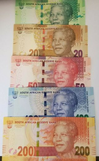Set South Africa 10;20;50;100;200 Rand,  Unc