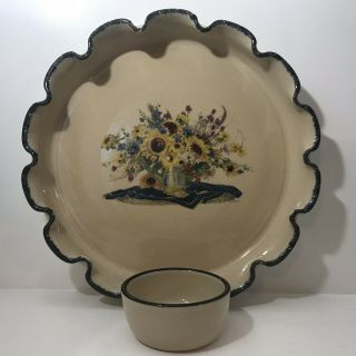 Home And Garden Party Beige Yellow Sun Flower Heavy Pottery Made In Usa