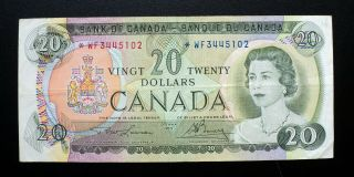 1969 Bank Of Canada $20 Dollars Replacement Note Wf 3445102 Bc - 50ba