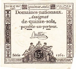 15 Sols Fine Banknote From French Revolution 1793 Pick - A69