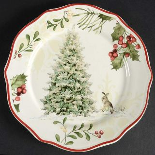 Better Homes & Gardens Winter Forest Tree Bunny Salad Plate 10276781