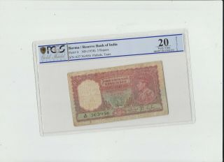 Burma 5 Rupees 1938 Reserve Bank Of India Pcgs 20