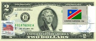 $2 Dollars 2013 Stamp Cancel Flag Of Un From Namibia Lucky Money Value $115