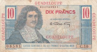 10 Francs Fine Banknote From French Colony Of Guadeloupe 1946 Pick - 32