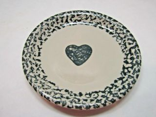 "Vintage Folk Craft Hearts By Tienshan Salad Plate Decorative China 7 5/8 "" Blue"