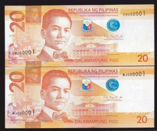 Philippines 20 Peso Ngc First Serial 000001 (2019,  2018) 2 Notes Uncirculated