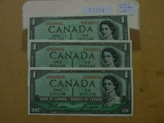 Canada 3x Banknote 1954 1 Dollar Sequance Number Prefix Gm Value 90.  00 T1774