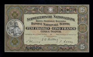 Switzerland 5 Franken 1951 Pick 11o Unc.