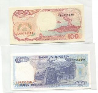 Indonesia 1992 Series Solid Number Cen 222222,  Lnb 555555