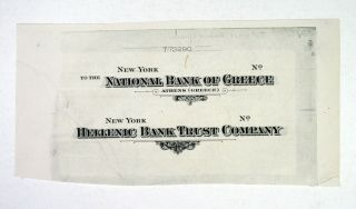 Greece & Nyc.  National Bank Of Greece,  Ca.  1920 - 40 Proof Check Titles Abn Unc