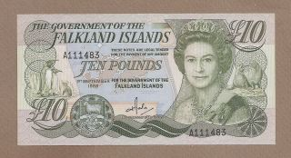 Falkland Islands: 10 Pounds Banknote,  (unc),  P - 14a,  01.  09.  1986,