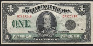 1923 $1 Canadian Dominion Note Dc - 25n