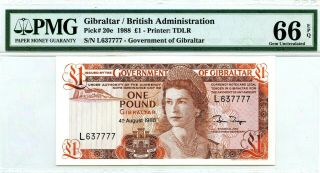Gibraltar 1 Pound 1988 British Administration Gem Unc Pick 20 E Value $240