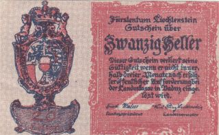 20 Heller Aunc Banknote From Liechtenstein 1920 Pick - 2
