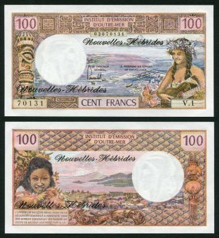Hebrides 100 Francs 1977 Woman With Guitar - P18d - Signature 3 - Unc