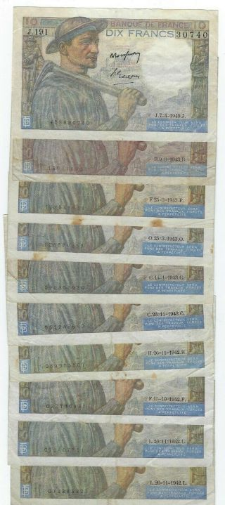 France P - 99 10 Francs 1942 - 49 Circulated 10 Notes