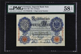 1914 Germany Imperial Bank Note 20 Mark Pick 46b Pmg 58 Epq Choice About Unc
