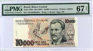 Brazil 10000 10,  000 Cruzeiros Nd 1992 P 233 B Gem Unc Pmg 67 Epq High
