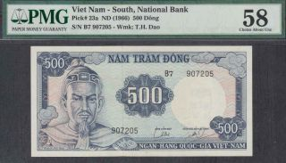 South Vietnam 500 Dong Banknote P - 23a Nd 1966 Pmg 58