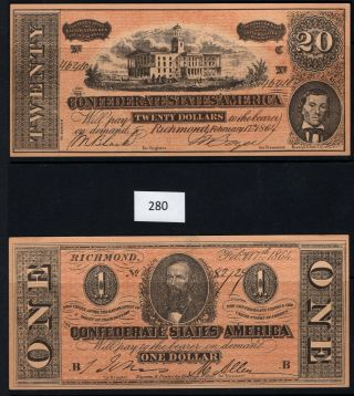 280 - Banknote Galore,  Selection Of Foreign Currency,  Confederate Facsimile$1,  $20